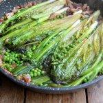 Braised Ruby Gem Lettuce with Spring Onions, Lardons, Peas and Creme Fraiche