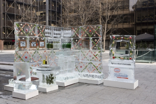 The 4 tonne ice pizzeria from Dr. Oetker Ristorante outside London Train Station
