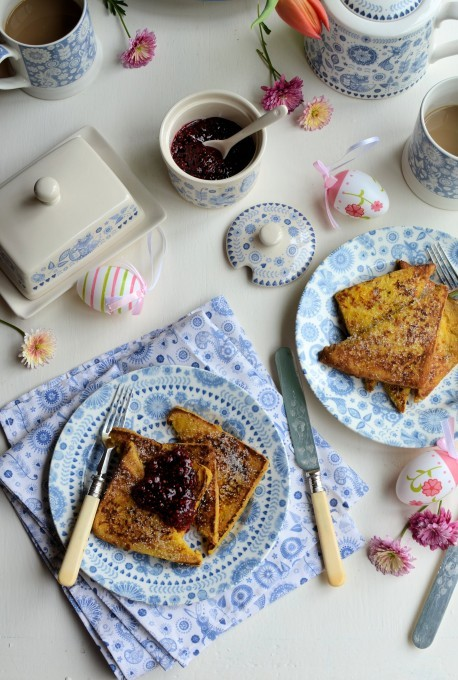 """A super easy and yet extremely tasty way to use up old (stale) bread, this recipe for """"Pain Perdu"""" (French Toast, Eggy Bread) makes a perfect breakfast or brunch dish for the weekend or a special breakfast gathering, such as Easter or Christmas. Serve with home-made raspberry jam and fresh raspberries when they are in season. Vanilla sugar is easy to make at home and I have a recipe here: French Lavender and Vanilla Sugar (just omit the lavender)"""