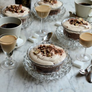 Bailys Double Chocolate Mousse with Toasted Hazelnuts and Baileys Cream