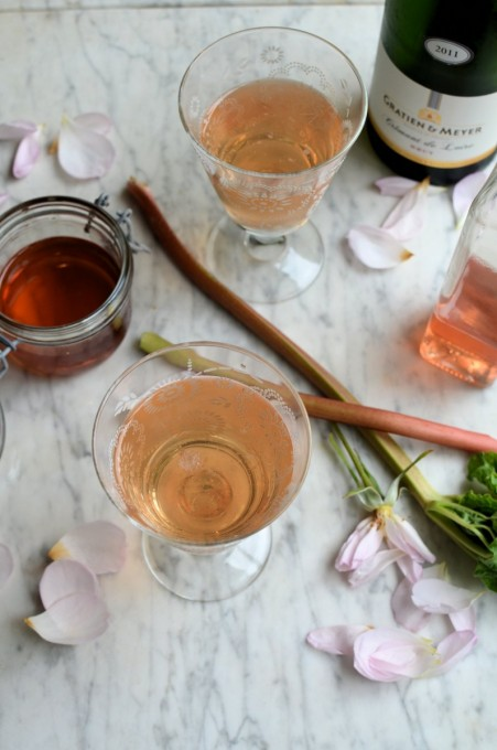 Rhubarb Champagne Cocktails