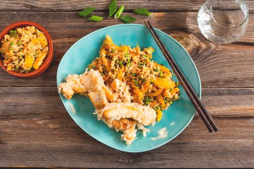 Salmon tempura and chilli rice