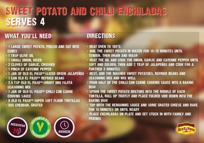 Sweet potato and chili enchilladas