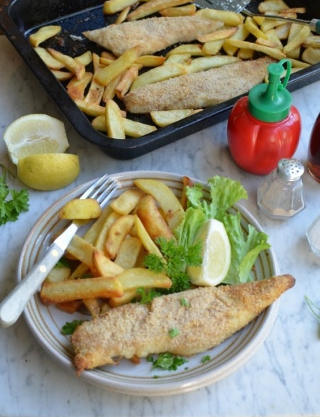 One Tray Oven Baked Hake and Chips