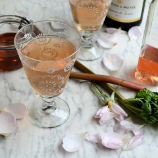 Rhubarb, Rose and Strawberry Champagne Cocktail