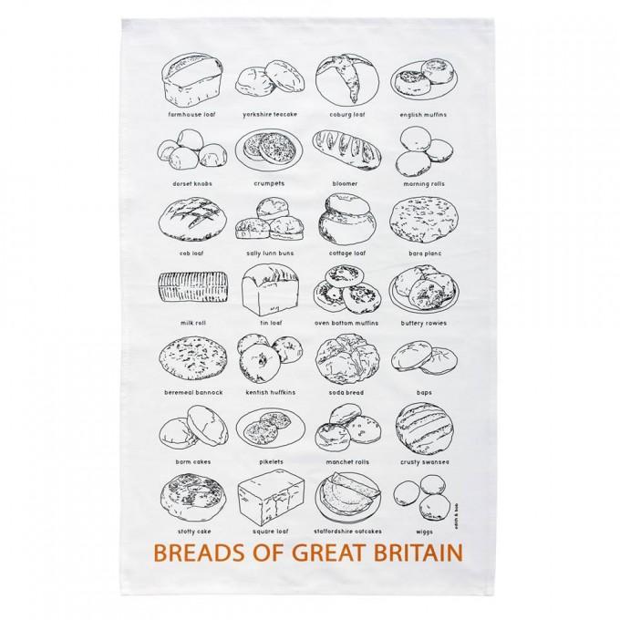 Breads of Great Britain tea towel