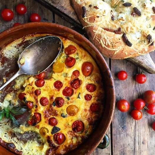 Cherry Tomato, Cheese and Basil Savoury Clafoutis with Fougasse