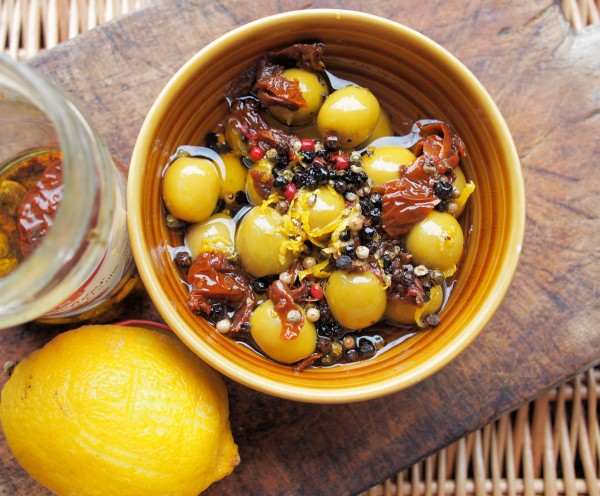 A Duet of Tuneful Olive Marinades with Lemons, Oranges, Herbs & Ginger