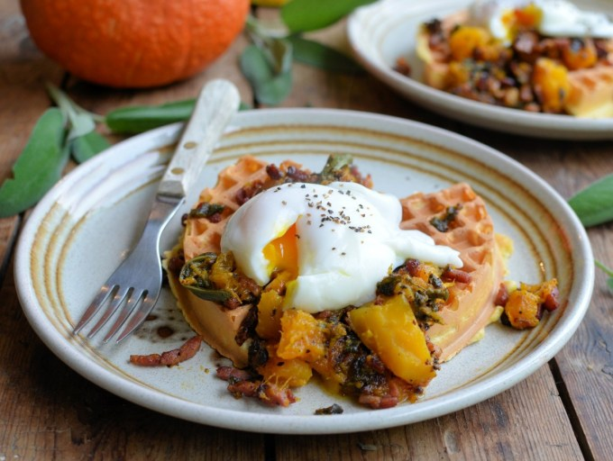 Cornmeal Waffles with Poached Eggs and Bacon, Sage & Pumpkin Compote