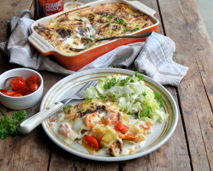 You can make this lasagne up to 8 hours ahead and then just pop it on the oven when you are ready to eat it.