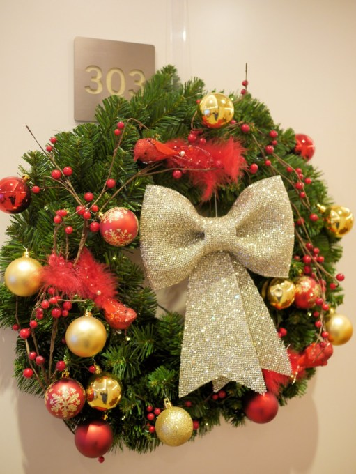 Christmas wreath on the door of my suite on APT river cruise