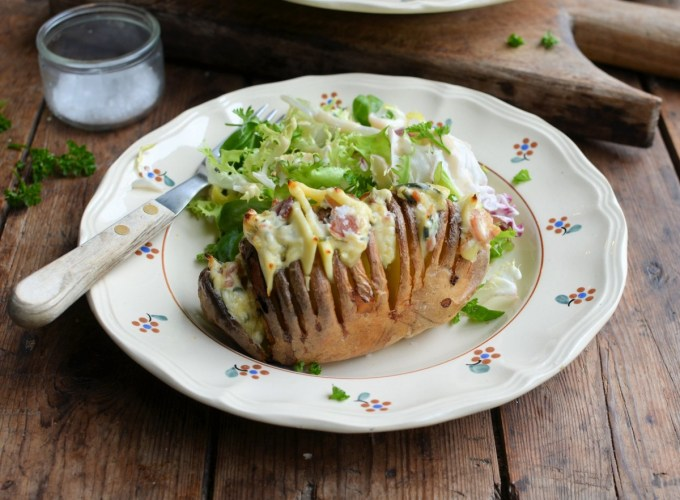Hasselback Potatoes with Bacon and Cheese