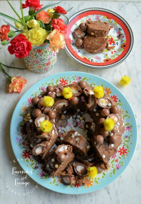 No Bake Creme Egg & Malteser Chocolate Tiffin Bundt Cake with The Caravan Trail