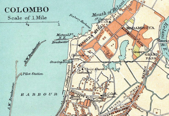 Old map of Colombo