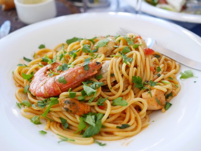Fresh Prawn and Seafood Spaghetti in a Saffron and Tomato Sauce