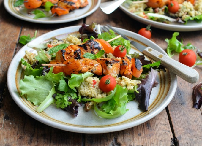 Moroccan Chicken & Apricot Kebab Salad with Tabbouleh