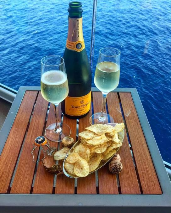 Champagne and crisps on the balcony!