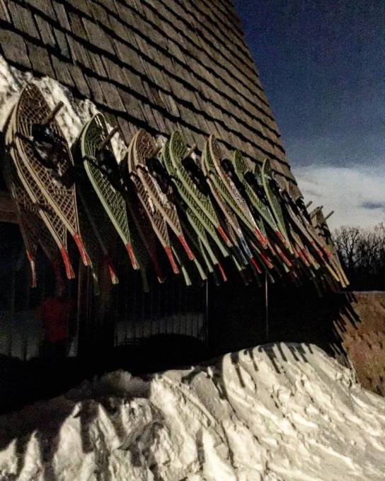 Snow shoes in the moonlight