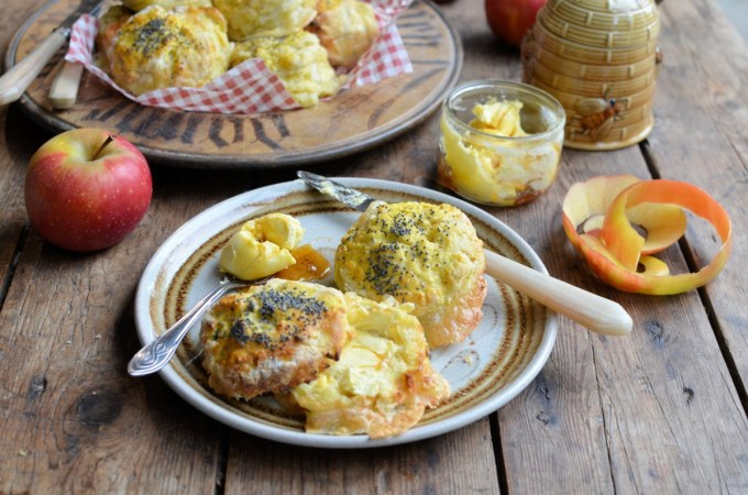 Camembert and Apple Scones with Honey Butter