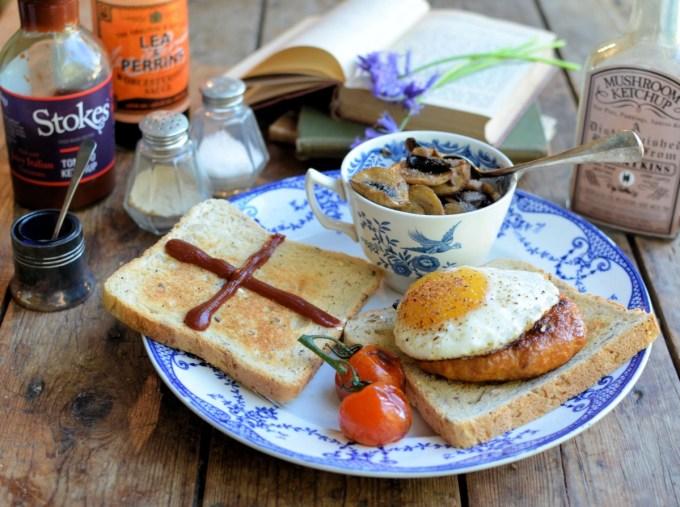 Mushroom and Egg Sausage Burger on Toast