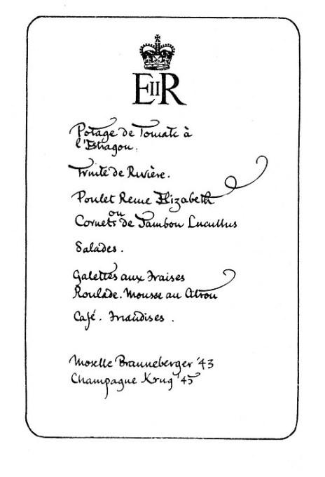 1953 Coronation Menu