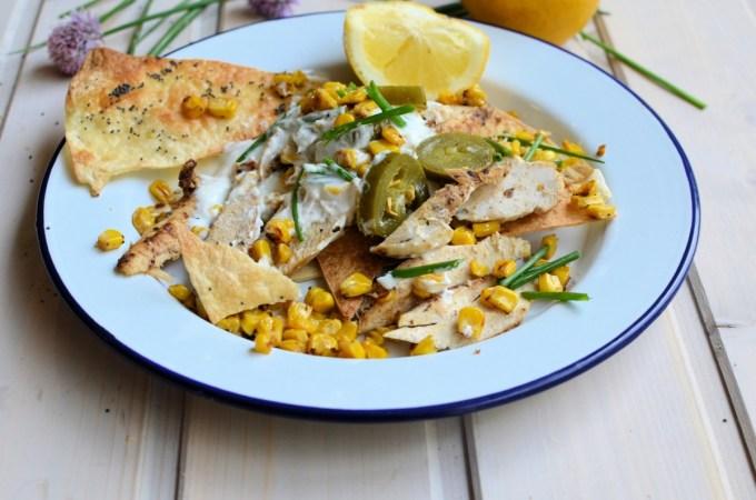 Chicken & Toasted Corn Nachos with Lemon & Jalapeno Yogurt Dressing