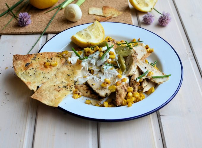 Chicken & Toasted Corn Nachos with Lemon & Jalapeno Yogurt Dressing