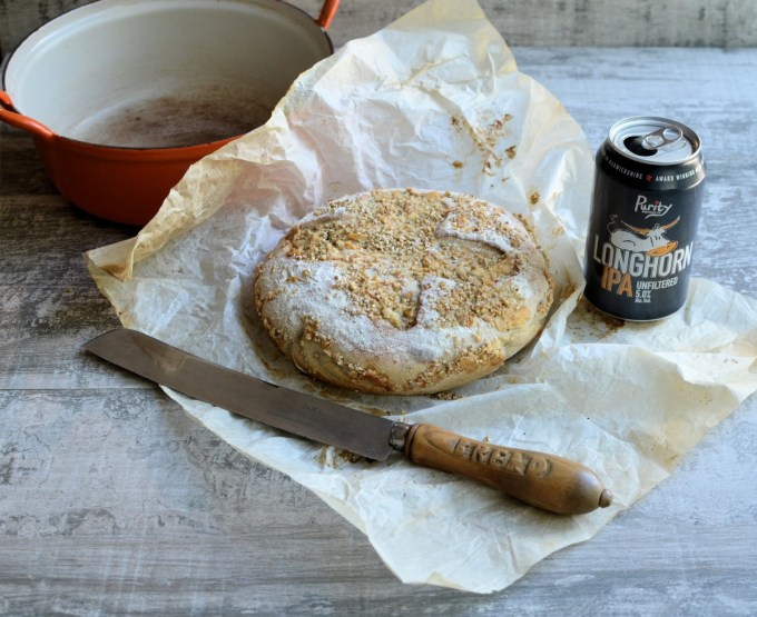 """Beer and Cheese Bread in a Crock - Delicious """"no knead"""" artisan style bread made in a cast iron crock, using a fabulous unfiltered rye IPA & Vintage Cheddar; the recipe is based on my ever popular """"Our Daily Bread in a Crock – Weekly Make and Bake Rustic Bread""""."""