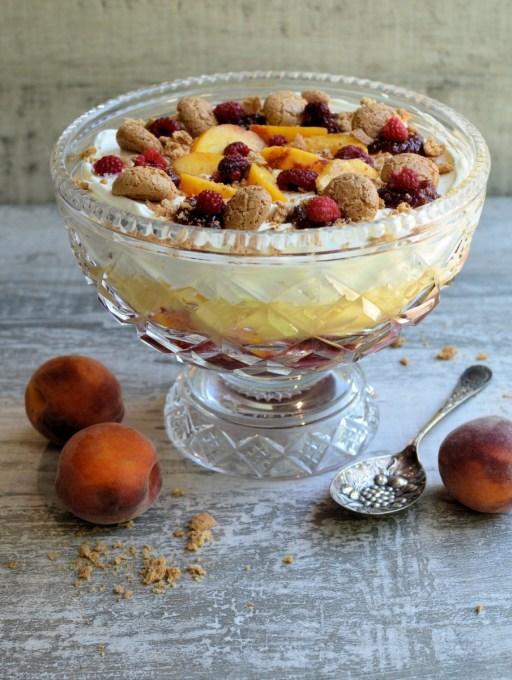 Peach Melba Sherry Trifle (