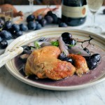 Roast Chicken with Grapes and Shallots - This is a simple recipe with very few ingredients but the end result belies how easy it is to make, and results in a rustically elegant dish that would grace any dinner party table, as well as a simple Sunday lunch for all the family. My wine pairing suggestions would be Gewurztraminer, or Riesling for this delicious chicken dish.