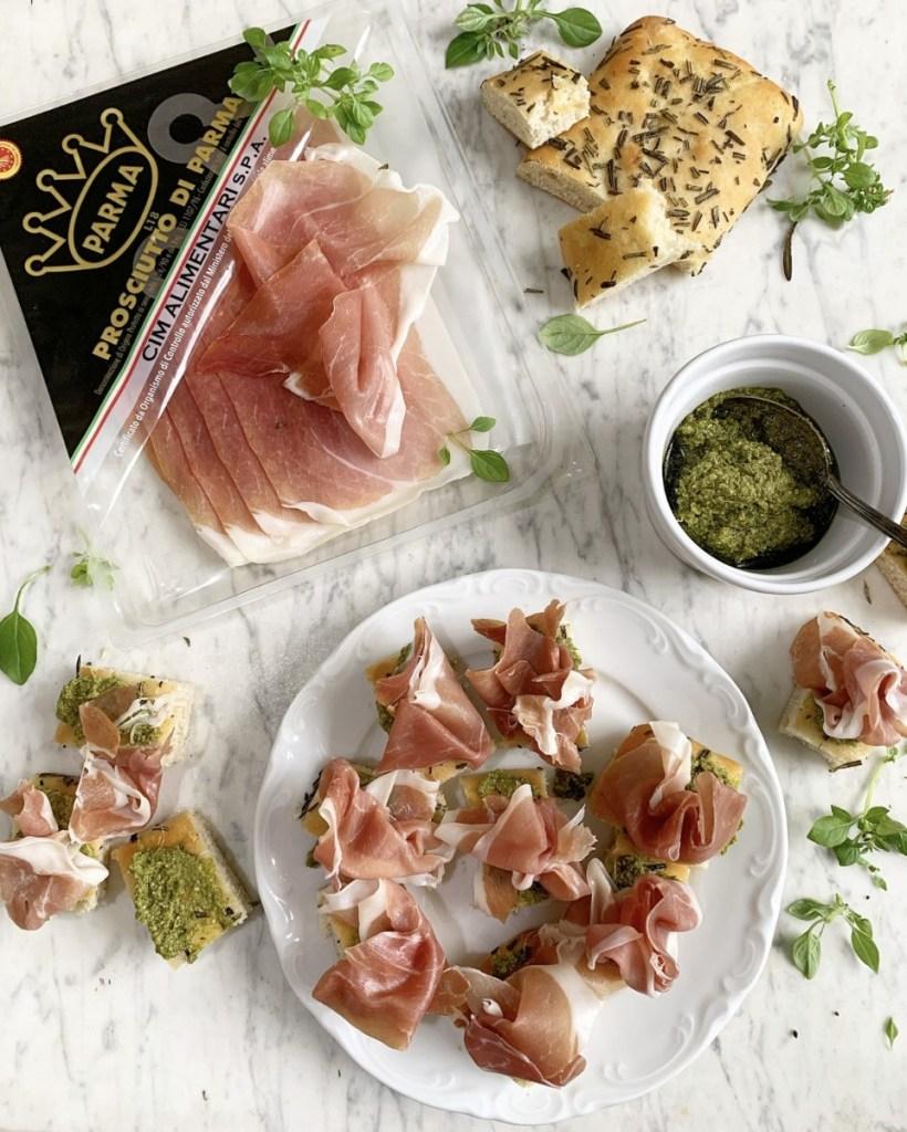 Focaccia Bites with Pesto and Prosciutto di Parma