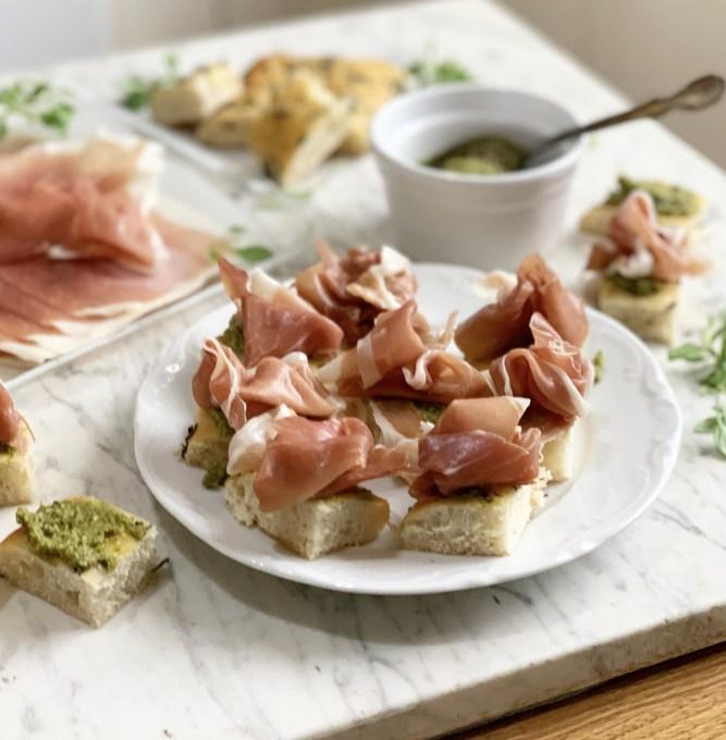 Prosciutto di Parma Ham and Pesto Focaccia Bites