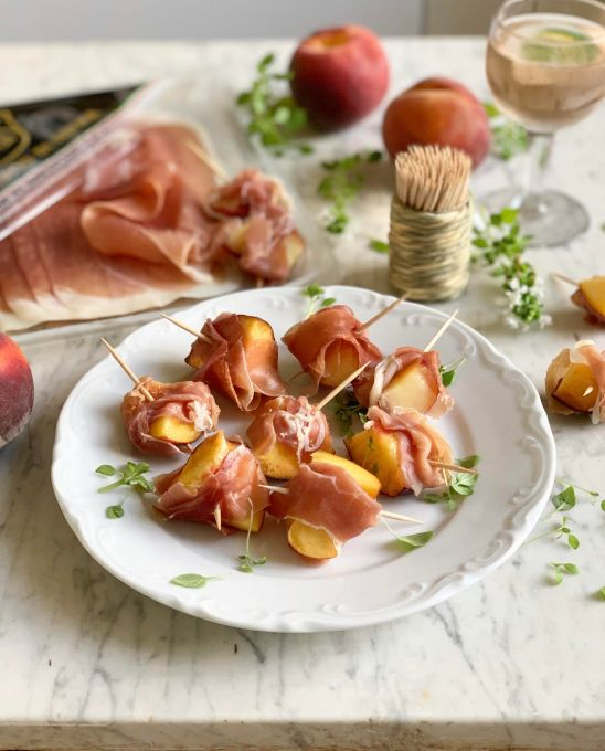 Prosciutto di Parma and Peach Skewers