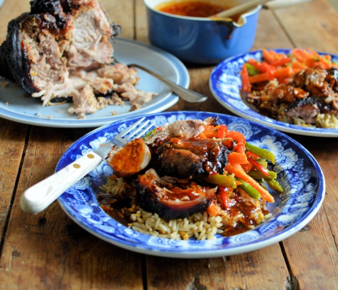 Aromatic Sticky Asian Roast Pork: A delicious autumnal dish of Asian style pork that is cooked with the Steam & Infuse™ attachment in my Stoves cooker for extra moistness & flavour. Serve with egg-fried rice and stir-fried vegetables.