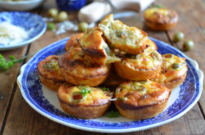 Mini Grano Padano Cheese Tarts with Olives & Sun Dried Tomatoes