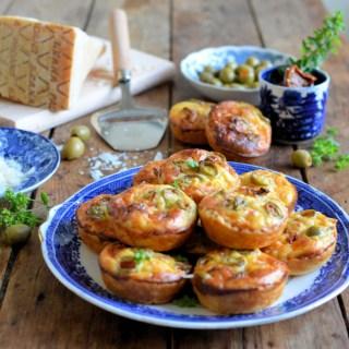 Mini Grana Padano Cheese Tarts with Olives & Sun Dried Tomatoes