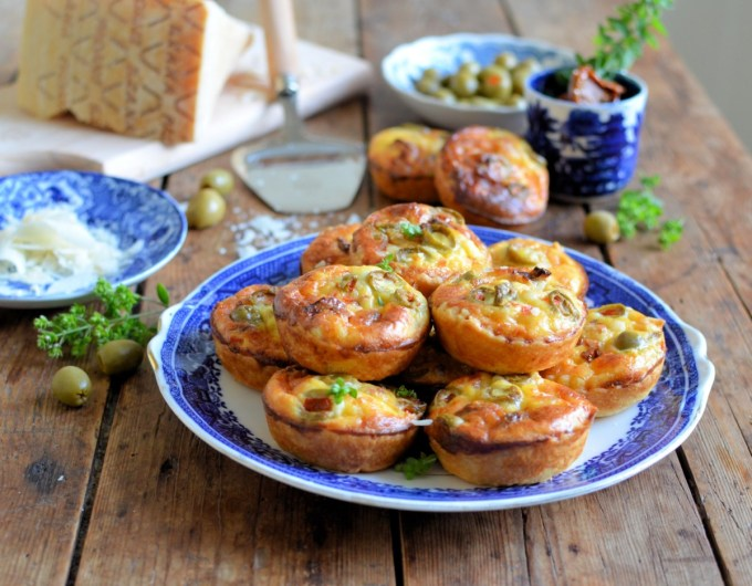 Mini Grana Padano Cheese Tarts with Olives & Sun Dried Tomatoes