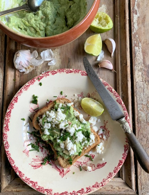 Avocado and Feta Toast with Chillies and Chives