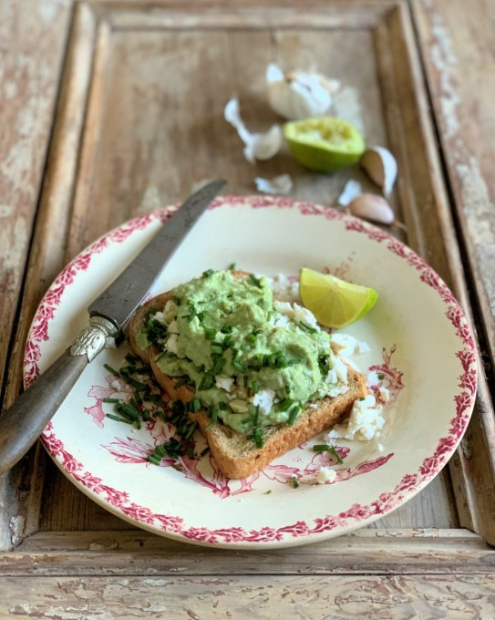 Avocado and Feta Toast with Chives