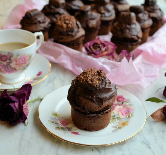 """I made a dozen of these a week ago, and within two hours my husband and two of his """"mates"""" had polished off six or seven of them……it was then that I realised that these were indeed the perfect Valentine's Day treat for most chaps with a penchant for chocolate! The recipe is an adapted Be-Ro recipe from my blog, and is fail-safe for larger cakes too."""