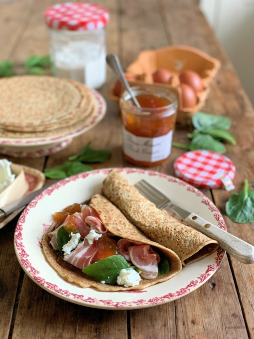 Chèvre, Ham and Peach Crêpes