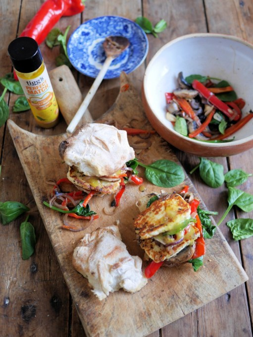 One Pan Halloumi Burger & Rainbow Veggies