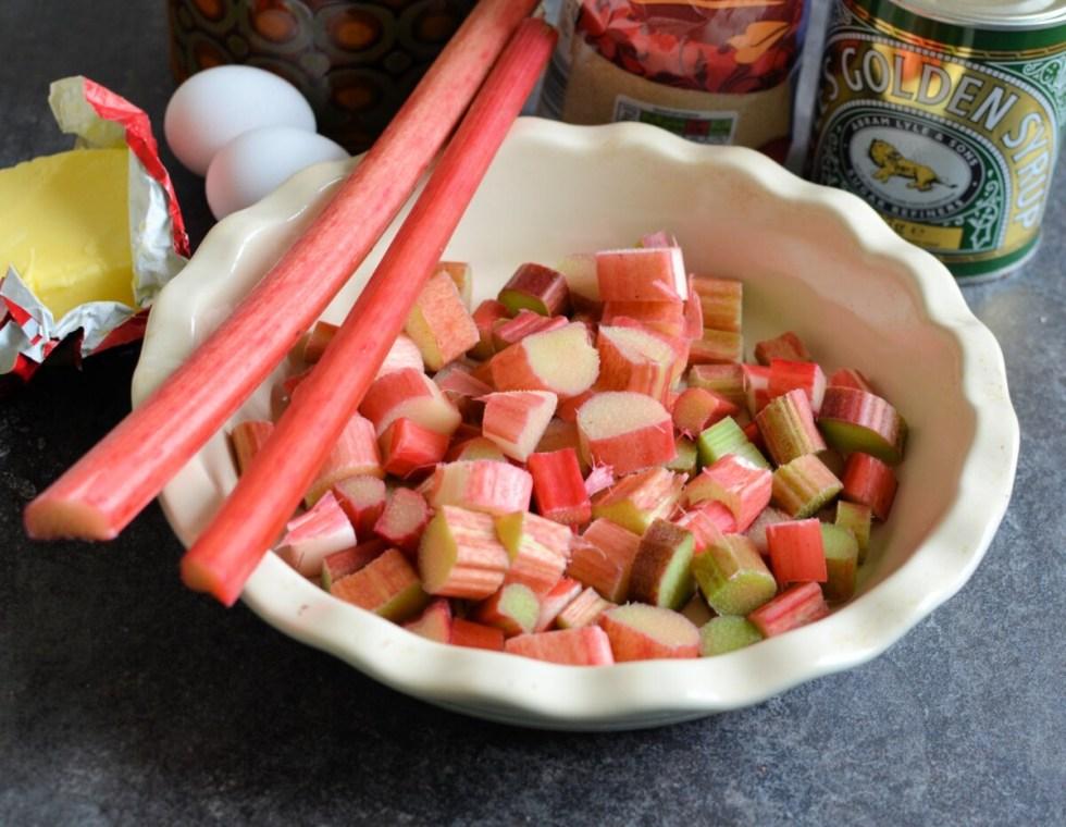 Cut the rhubarb