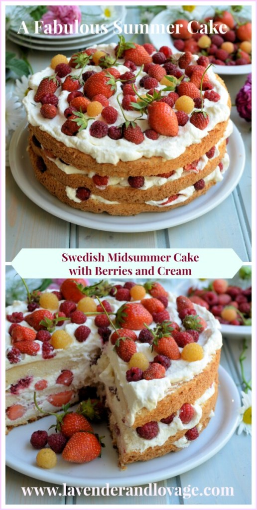 Swedish Midsummer Cake with Berries and Cream