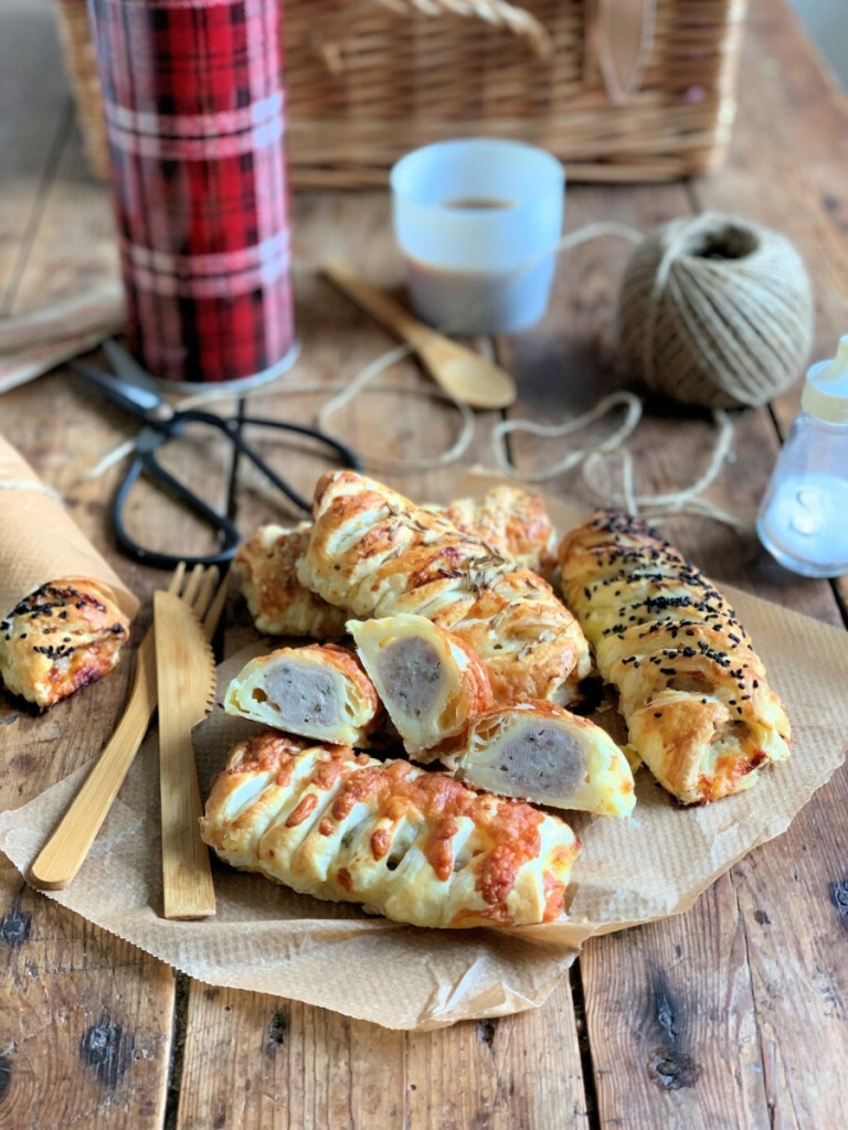 Easy Cheesy Puff Pastry Sausage Rolls