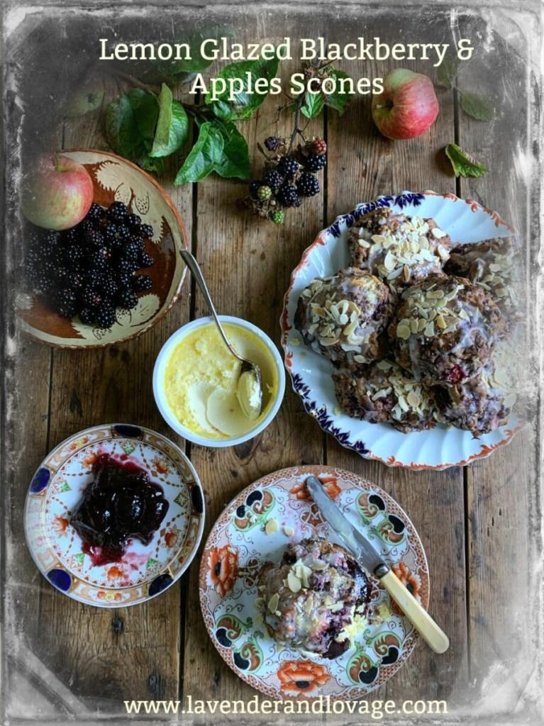 Lemon Glazed Blackberry & Apples Scones