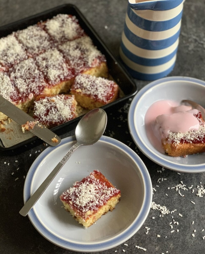 Jam & Coconut Sponge with Pink Custard