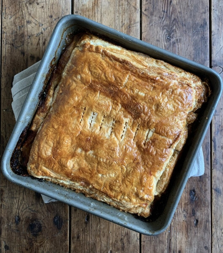 Sausage and Onion Puff Pastry Pie
