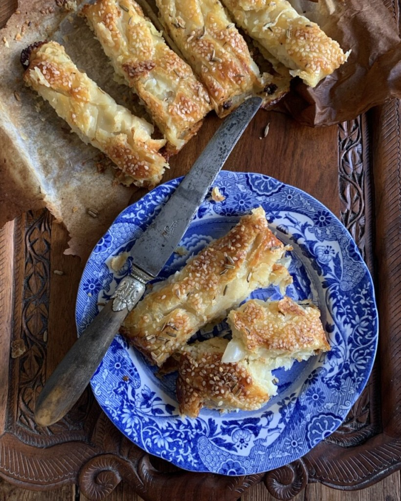 Cheese & Shallot Puff Pastry Plait