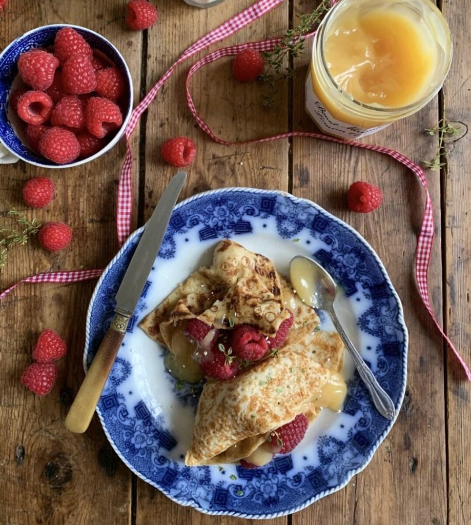 Lemon Curd & Raspberry Crêpes
